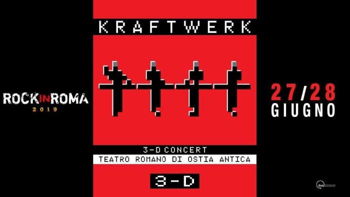 Kraftwerk in concerto 3-D il 27 e 28 giugno 2019 al Teatro Romano di Ostia Antica
