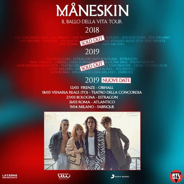 I Maneskin aggiungono cinque nuovi concerti nei club a marzo e aprile 2019 dopo il sold out
