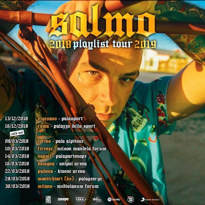 "Salmo anuncia il tour nei palasport italiani, ""Playlist Tour 2019"""