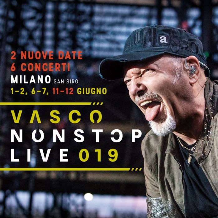 Vasco Rossi terrà sei concerti a San Siro nell'estate 2019: si esibirà il 1, 2, 6, 7, 11 e 12 giugno
