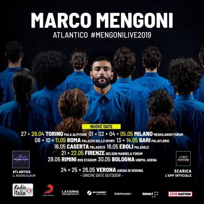 Marco Mengoni aggiunge nuove date all'Atlantico Tour a Torino, Milano, Roma, Bari e Firenze