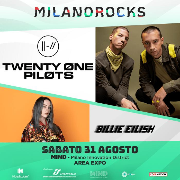Twenty one Pilots e Billie Eilish a Milano Rocks sabato 31 agosto