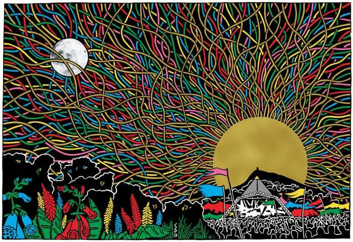 Glastonbury 2019 lineup disegno di Stanley Donwood