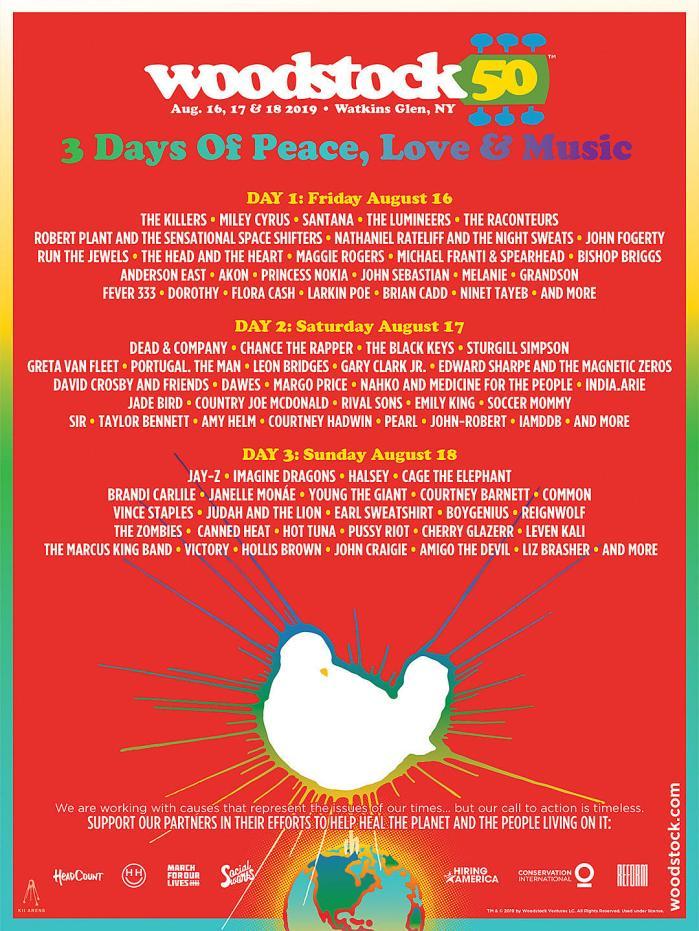 La lineup completa di Woodstock 50 con Killers, Jay-Z, Imagine Dragons, The Black Keys, Santana e moltissimi altri