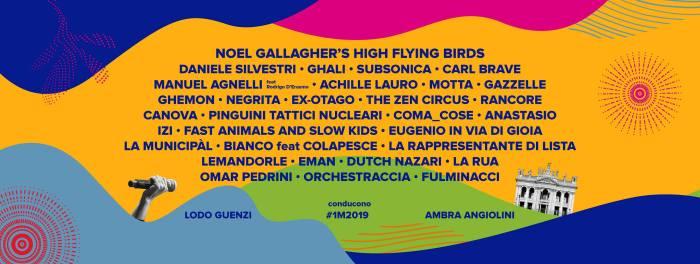Lineup completa Concertone Primo Maggio 2019