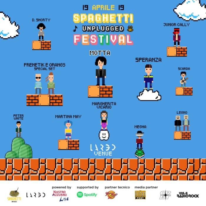 Spaghetti Unplugged Festival lineup con Motta, Scarda, Margherita Vicario e altri