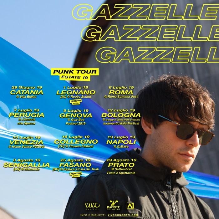 """Gazzelle elenco concerti estate 2019 """"Punk Tour Estate 19"""""""