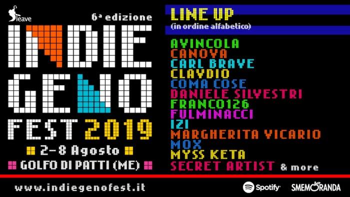 Indiegeno Fest 2019, si aggiungono Daniele Silvestri, Coma Cose, Avincola e altri