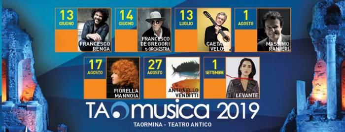 Lineup TAOmusica edizione 2019 con Caetano Veloso, Antonello Venditti, Levante, De Gregori, Renga