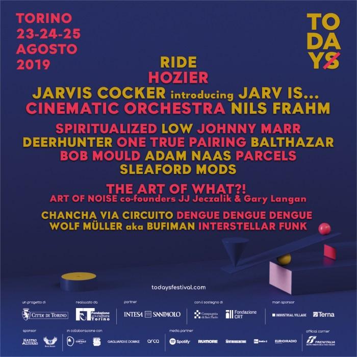 Il programma completo di TOdays 2019 dal 23 al 25 agosto con Ride, Hozier, Jarvis Cocker, Johnny Marr, Spiritualized e altri