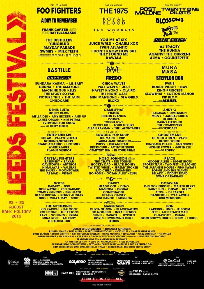 Il programma del Leeds Festival 2019