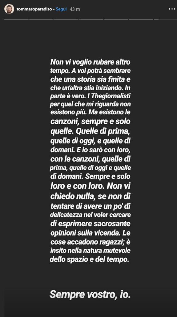 Tommaso Paradiso esce dai Thegiornalisti: storia Instagram