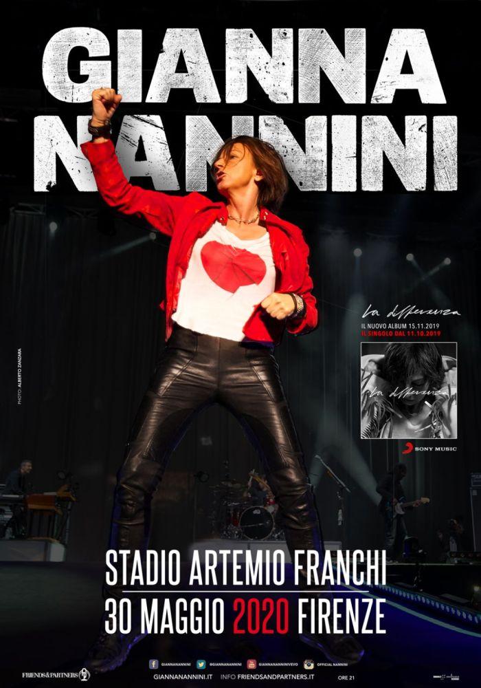 """Gianna Nannini annuncia un concerto evento il 30 maggio 2020 allo Stadio Artemio Franchi di Firenze con il nuovo album """"La Differenza"""""""