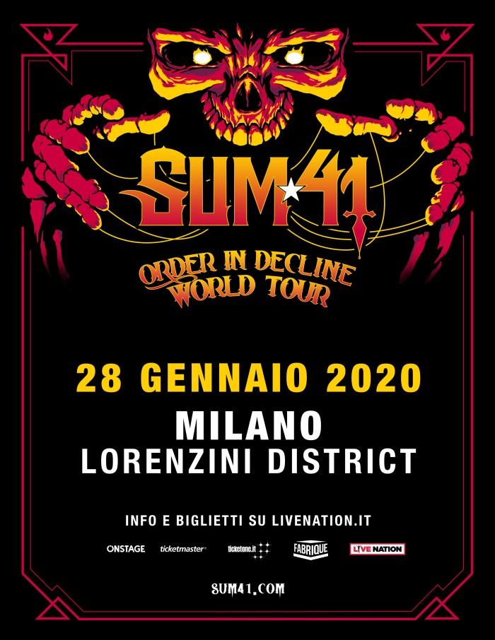 """Sum 41 in concerto il 28 gennaio al Lorenzini District di Milano con """"Order In Decline World Tour"""""""