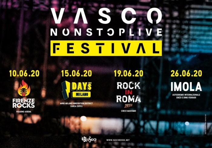 Le 4 date a Firenze, Milano, Roma e Imola del Vasco Non Stop Live Festival
