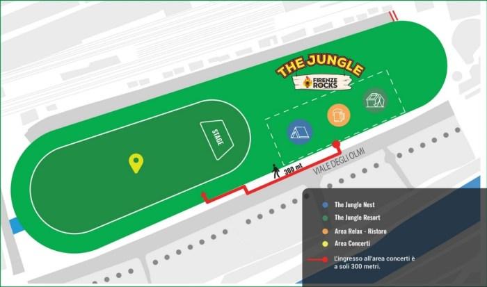 The Jungle campeggio Firenze Rocks 2020 mappa