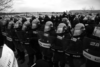 Riot police like this now appear at every major protest to violently discourage dissent