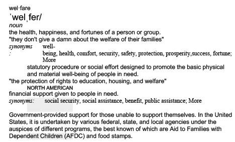 Welfare Definition