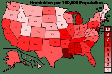 Homicides Per 100,000 Population - Photo by Delphi234