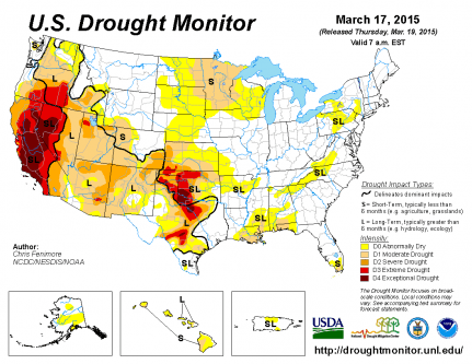 March 17 2015 US Drought Monitor