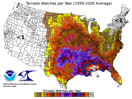 Tornado Watches Per Year - Public Domain