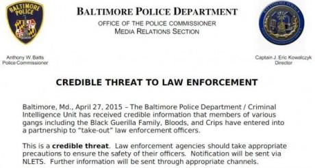 Baltimore Police Department - Credible Threat