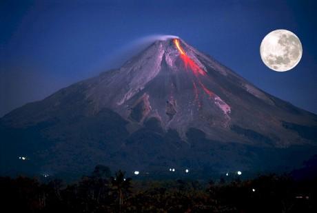 Volcano Erupting Full Moon - Public Domain