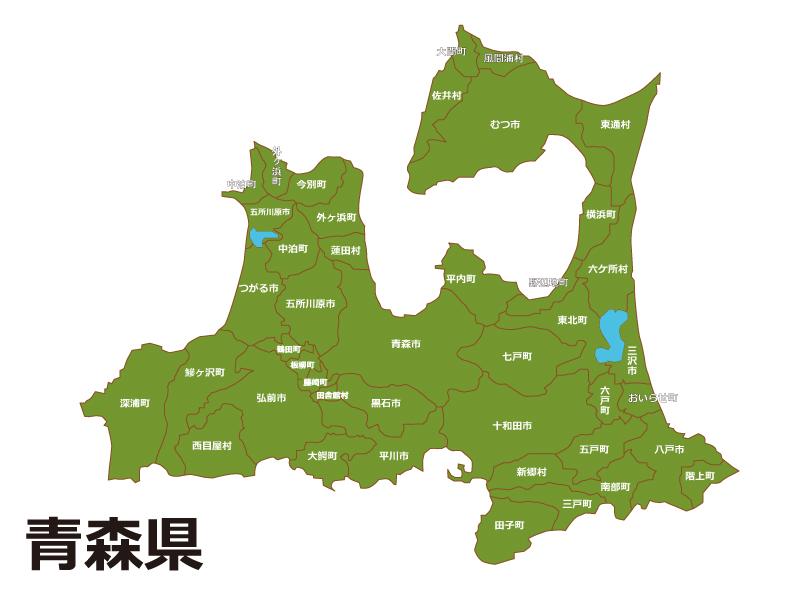青森県内で三沢市の位置をWEB閲覧者にわかりやすいように案内している地図画像