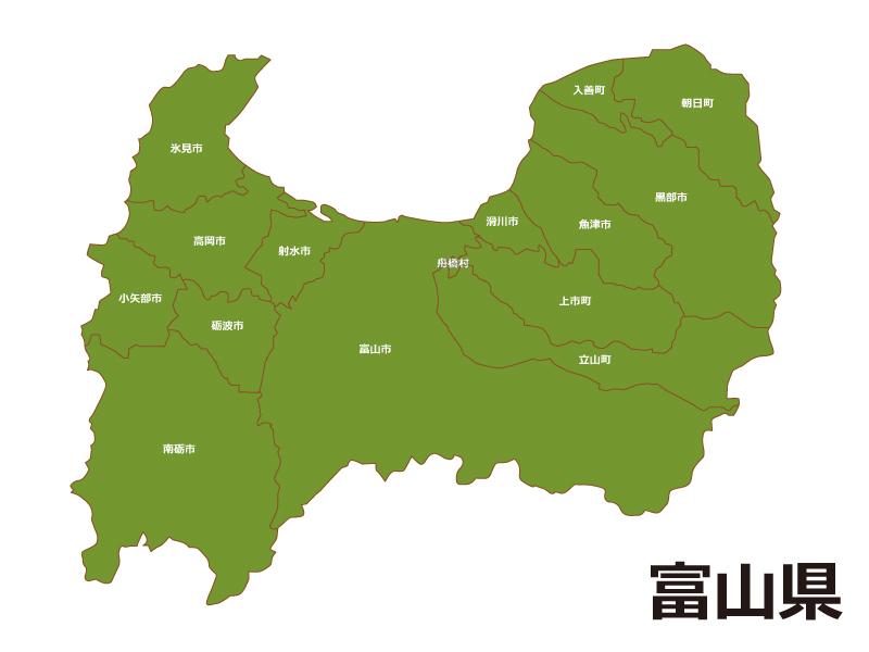 富山県内で入善町の位置をWEB閲覧者にわかりやすいように案内している地図画像