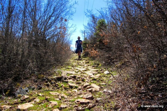 Ancient cobbled trail linking Gollomboc and Gorice e Vogel