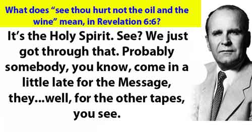 """What does """"see thou hurt not the oil and the wine"""" mean, in Revelation 6:6?"""