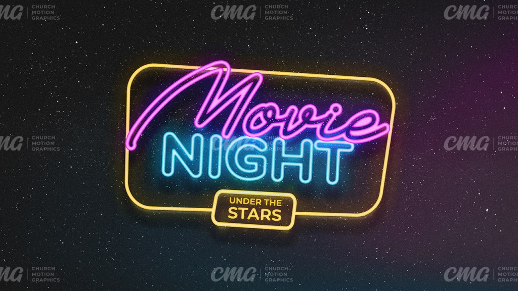 Movie Night **This graphic is available for purchase from Church Motion Graphics: https://shop.churchmotiongraphics.com/library/template