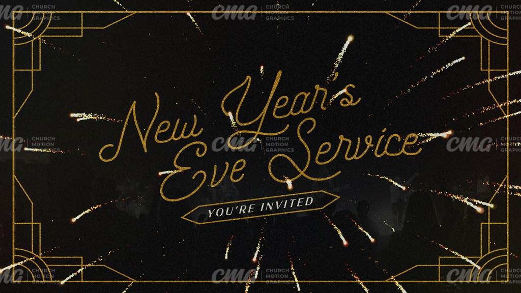 New Year's Eve Service Black Gold Art Deco Ornate Frame Script-Subtitle