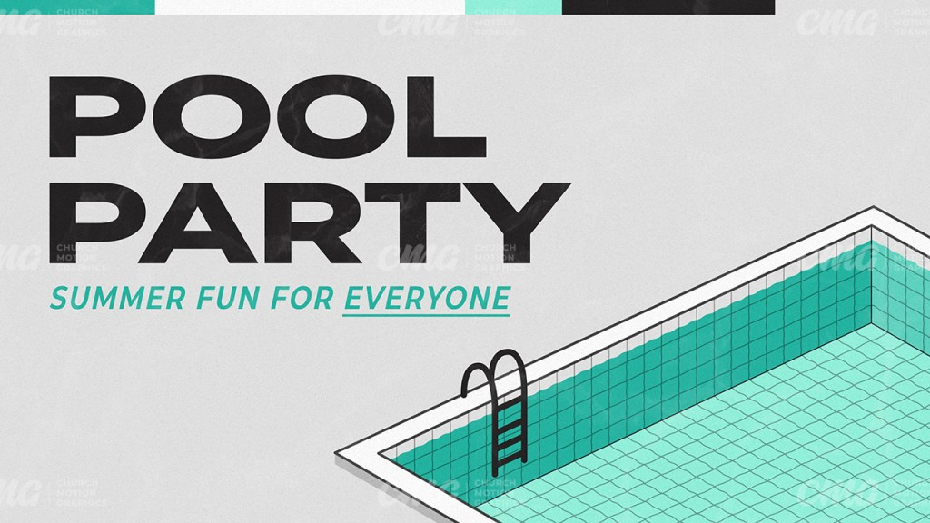 Pool Party Gray Teal Isometric-Subtitle