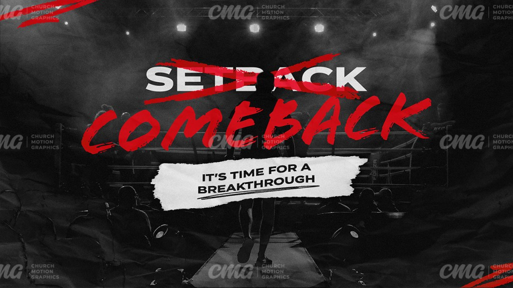 Setback Comeback Time For A Breakthrough Black Red Boxing Ring Paper-Subtitle