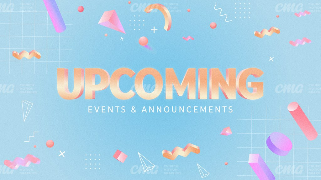 Upcoming Events And Announcements Colorful 3D Geometric Shapes-Subtitle