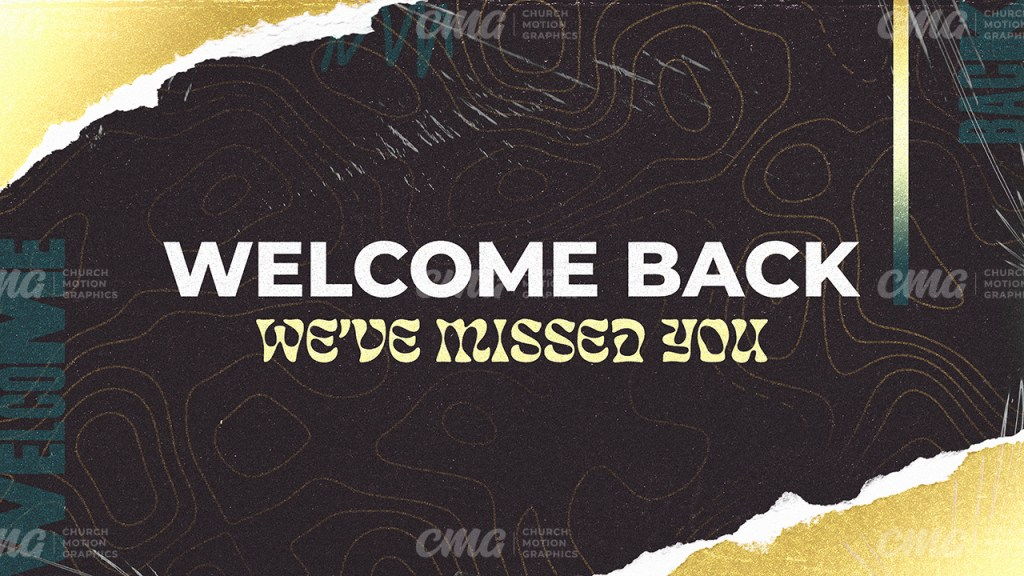 Welcome Back Ripped Paper Topographic Lines Dark Muted Colors-Subtitle