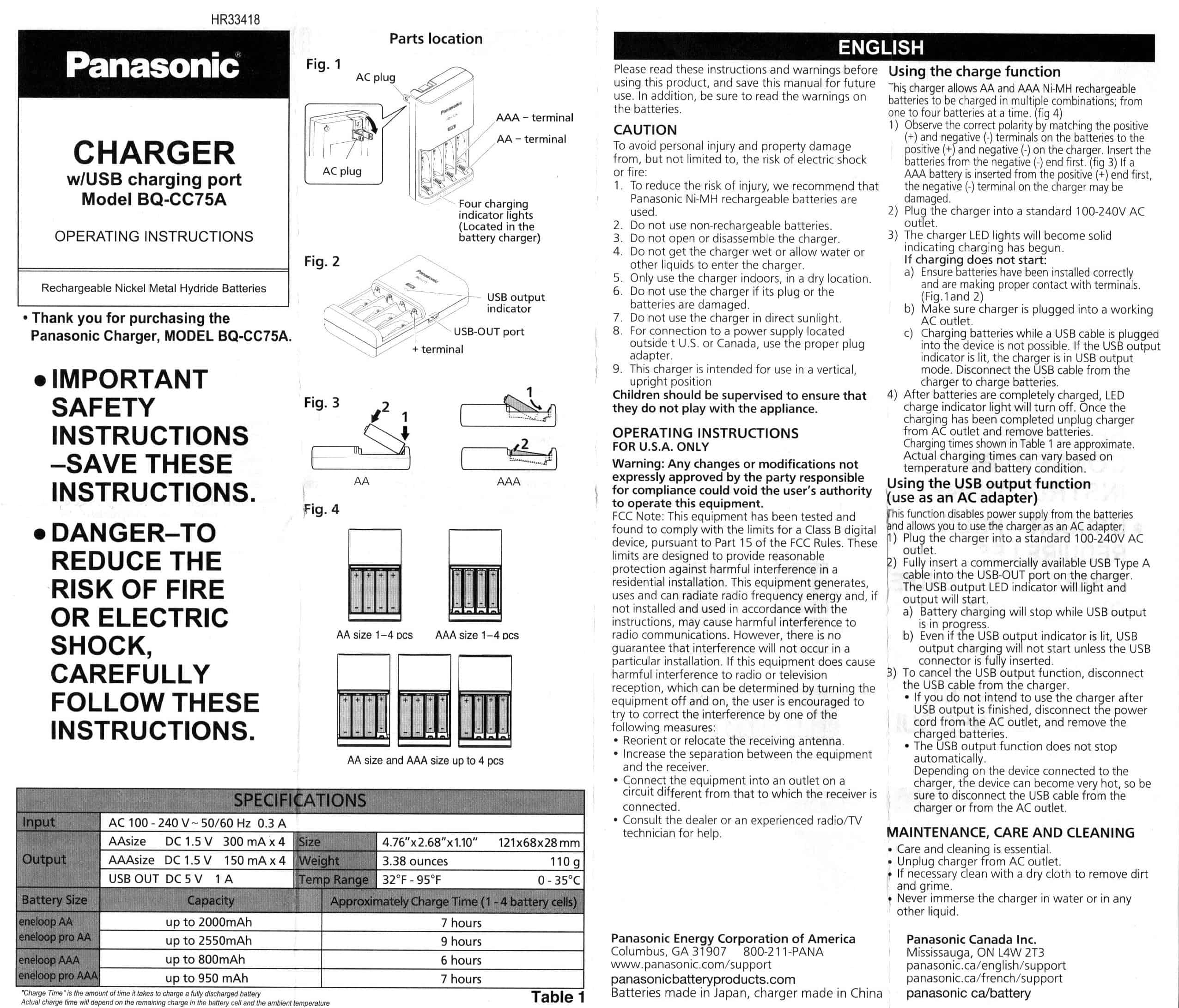 complete Sanyo and Panasonic Eneloop charger List (the