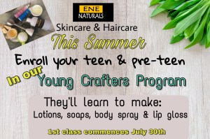 Summer Natural Skincare training for teens