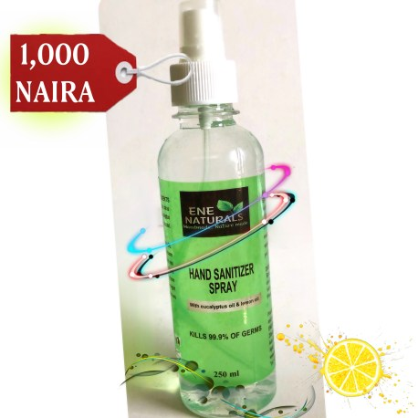 Natural hand sanitizer spray with eucalyptus oil and lemon oil