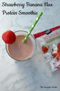 Strawberry Banana Flax Protein Smoothie