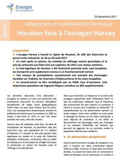 Adaptation et vulnérabilité climatique : retour d'expérience sur l'ouragan Harvey