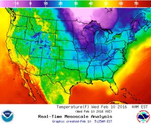 Regional temperature map