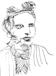 Dessin d'après une photographie noir et blanc de Marguerite jeune.