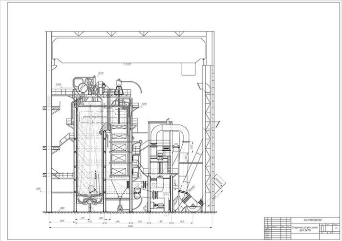Чертеж парового котла БКЗ-160ГМ