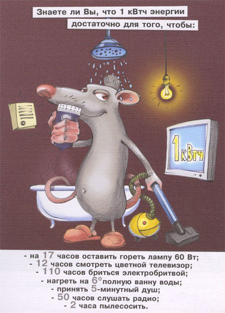 Плакат по энергосбережению: на что хватит 1кВтч энергии