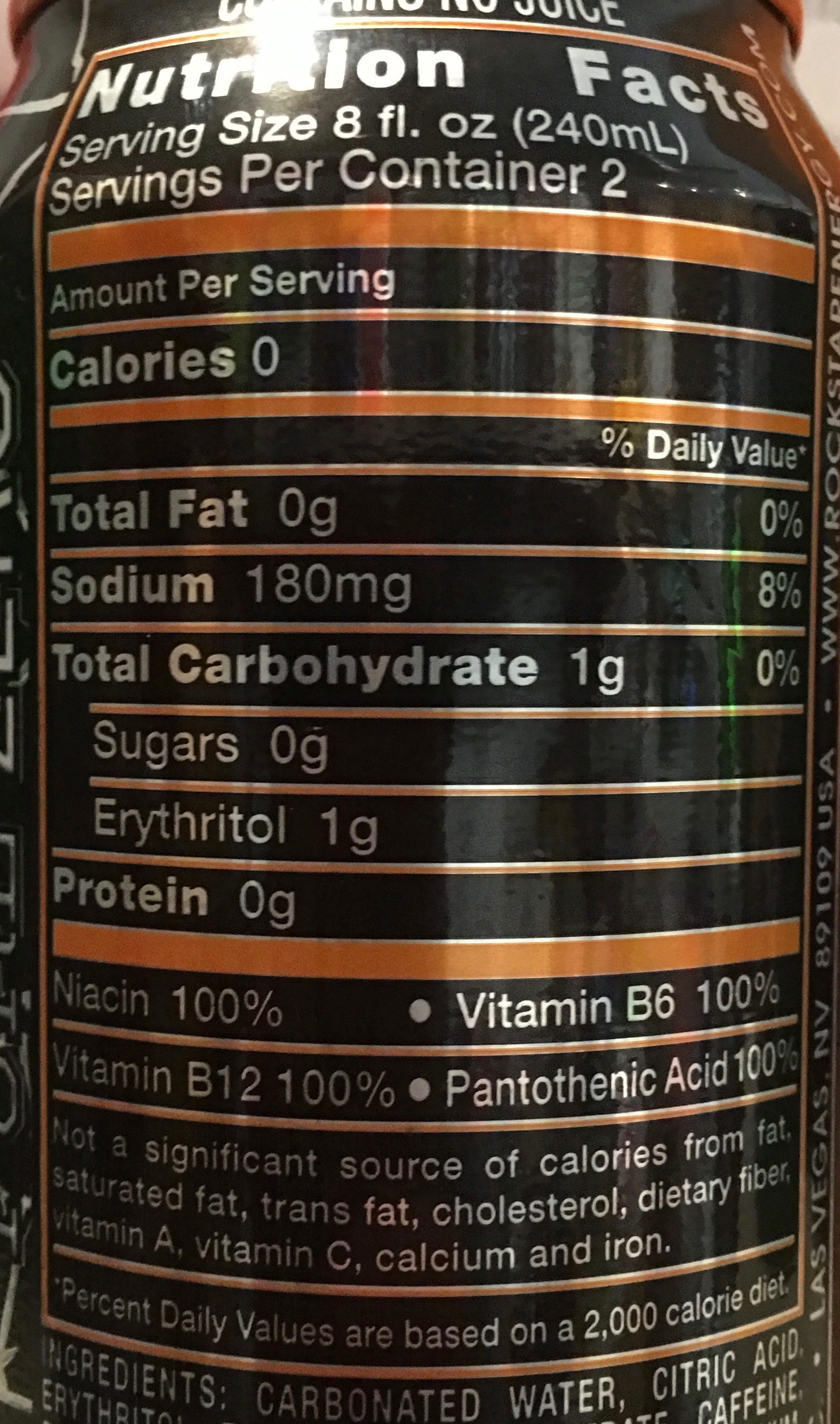 Rockstar Energy Drink Nutrition Facts
