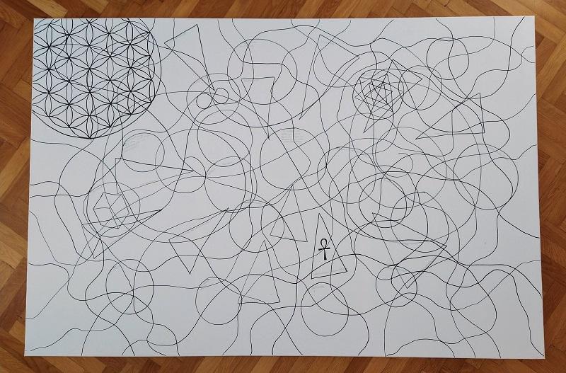 NEURODINGS zu Beginn des Prozesses - einfache Linien und Formen beidhändig gezeichnet