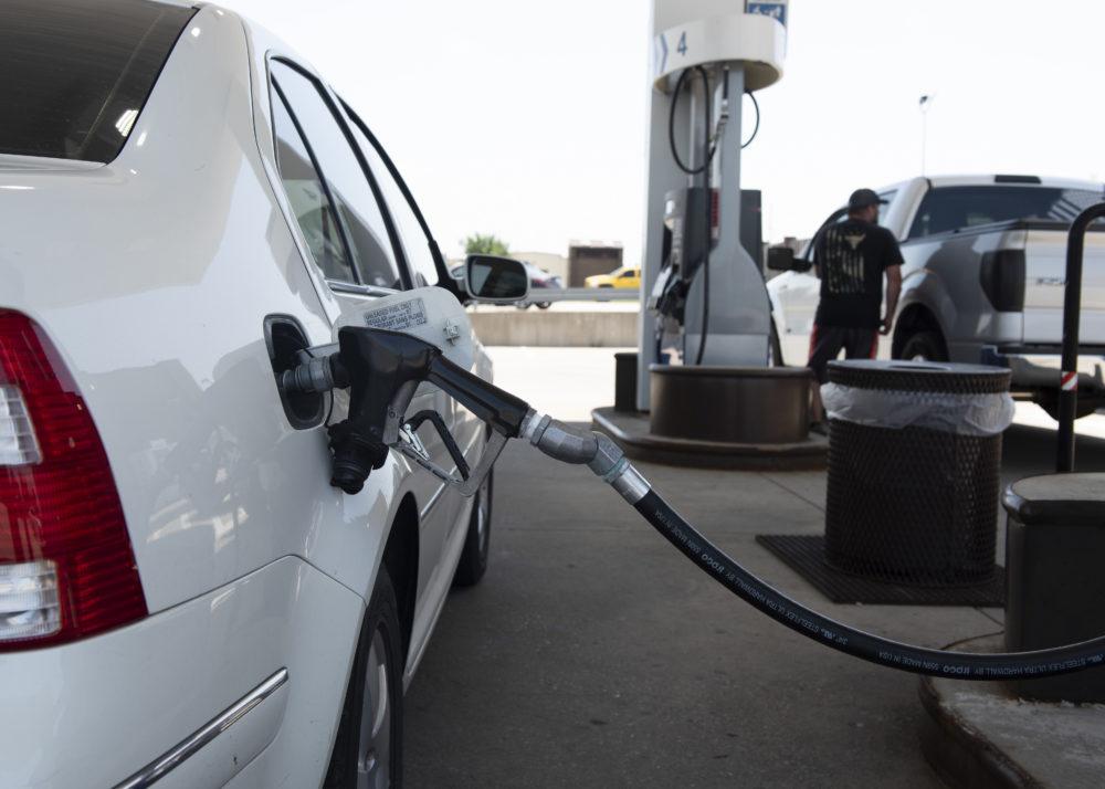 a vehicle at a gas pump