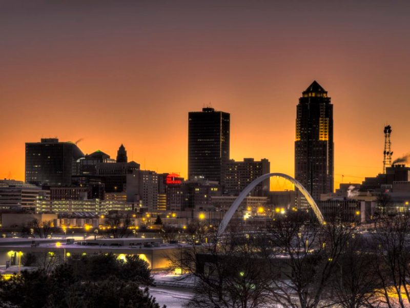 The downtown Des Moines, Iowa, skyline at twilight.